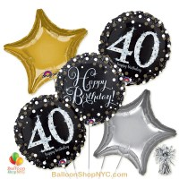 40th Sparkling Happy Birthday Mylar Stars Balloon Bouquet Inflated high-quality cheap balloons nyc delivery