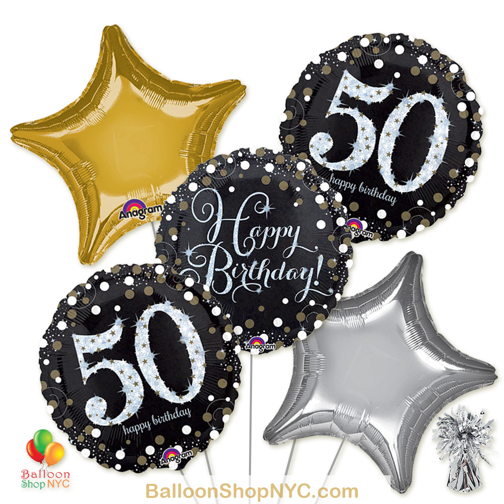 50th Sparkling Happy Birthday Mylar Stars Balloon Bouquet