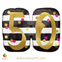 50th Milestone Happy Birthday Pink Gold Mylar Balloon 36 Inch Helium Inflated high-quality cheap balloons nyc delivery