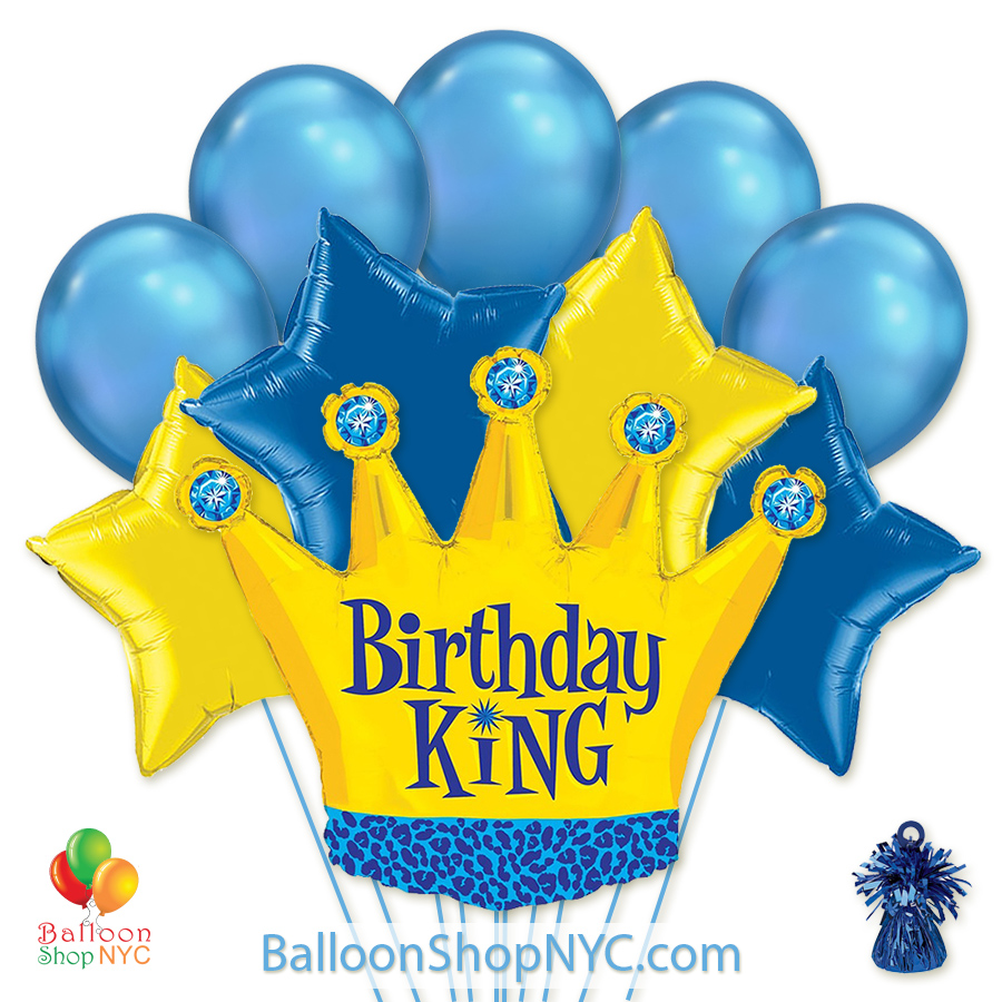 Birthday King Crown Gold Blue Mylar Latex Balloon Bouquet Helium Inflated High Quality Cheap Balloons