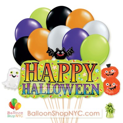 Happy Halloween Supershape Mylar Latex Party Balloon Bouquet Delivery from Balloon Shop NYC