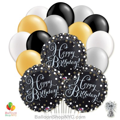 Sparkling Happy Birthday Mylar Latex Pearl Balloon Bouquet Delivery New York City from Balloon Shop NYC