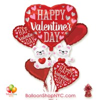Happy Valentines Day Floating Bears Balloon Bouquet Inflated with Weight Delivery in New York from Balloon Shop NYC