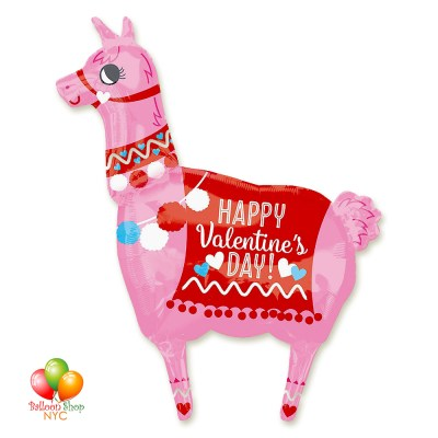 Happy Valentines Day Lama Balloon Super-Shape 36 Inch Inflated Delivery in New York from Balloon Shop NYC