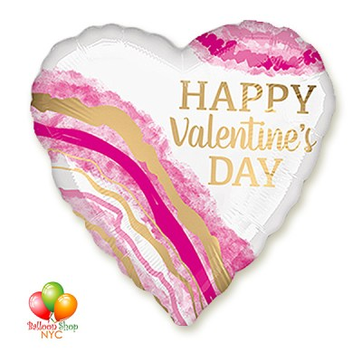 Gorgeous NEW Happy Valentines Day Watercolor Heart Balloon 18 Inch Inflated Delivery in New York from Balloon Shop NYC