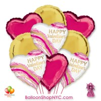 Happy Valentines Day Watercolor Heart Balloon Bouquet with Weight Delivery in New York From Balloon Shop NYC