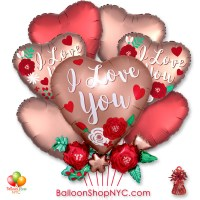 I Love You Copper Roses Valentines Day Balloon Bouquet with Weight Delivery in New York from Balloon Shop NYC