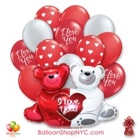 Love Bears Valentines Day Balloon Bouquet Inflated with Weight Delivery from Balloon Shop NYC