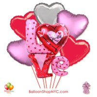 Love Letters Hearts Valentines Balloon Bouquet with Weight Delivery in New York from Balloon Shop NYC