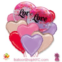 Love You Hearts Valentines Bubble Balloon Bouquet Inflated Delivery in New York from Balloon Shop NYC