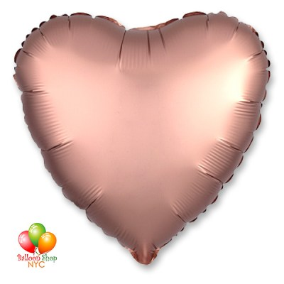 Satin Luxe Rose Gold Heart 18 Inch Inflated Delivery in New York from Balloon Shop NYC