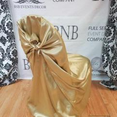 Gold Universal Chair Covers Metal Chairs Outdoor Bnb Events Decor Champagne Satin Cover