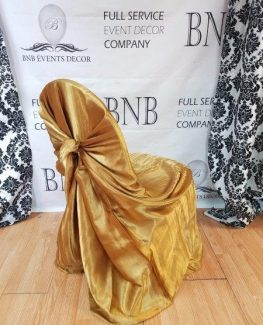 gold universal chair covers wood parts manufacturer bnb events decor satin cover