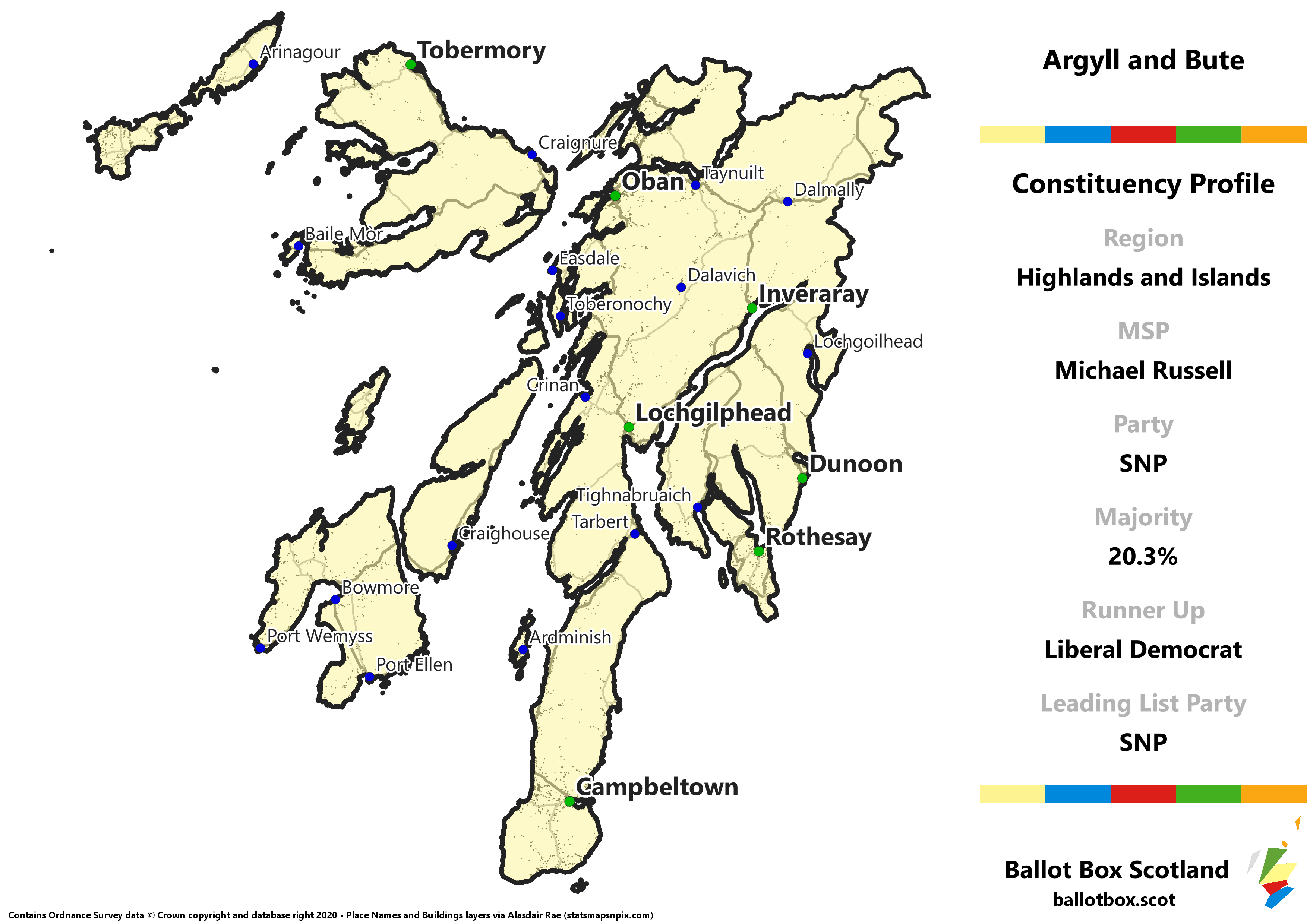 Highlands and Islands Region – Argyll and Bute Constituency Map