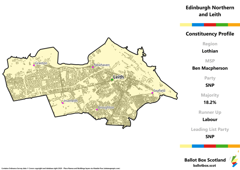 Lothian Region - Edinburgh Northern and Leith Constituency Map