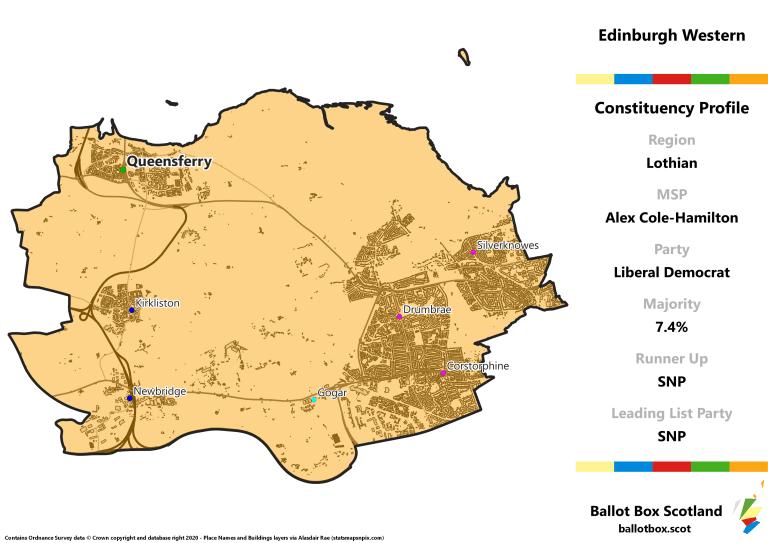 Lothian Region - Edinburgh Western Constituency Map