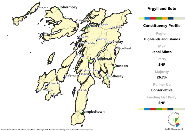 Highlands and Islands Region - Argyll and Bute Constituency Map