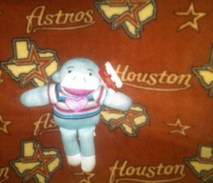 Valentine's stuffed animals, like this sock monkey,  won't be the only things looking for a home this Valentine's Day as baseball players compete for roster spots. No team appears to have more spots available than the Houston Astros. Photo R. Anderson