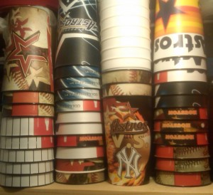 A selection of Houston Astros Souvenir cups accumulated over the past five seasons. Photo R. Anderson