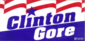 Campaign bumper sticker for the 1992 campaign of Bill Clinton.  Clinton defeated George Bush to become the 42nd President of the united States.