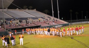Team Canada and the Baltimore Orioles during a 2012 exhibition game. Photo R. Anderson