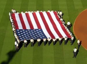 Large flags and camoflauge hats will mark Memorial Day across Major League Baseball today. Photo R. Anderson