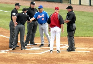 Managers and umpires have had a love/hate relationship for years. Some of the strain in the relationship comes from blown calls by the umpires. Starting next year managers can challenge three of those calls a game as part of an expanded instant replay. Photo R. Anderson