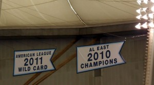 The Tampa Bay Rays are seven games away from getting to add to their banner collection. Photo R. Anderson