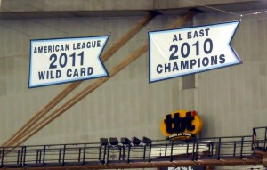 The Rays will get to add 2013 Wild Card to their banner collection at Tropicana Field. Of course they are hoping for several more up to World Series Champion this year. Photo R. Anderson