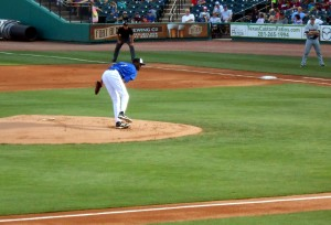 Tracy McGrady's pitching line from his professional baseball debut is 1 2/3 innings, 35 pitches (18 strikes/17 balls), 2 earned runs, 2 walks and a home run.  Photo R. Anderson