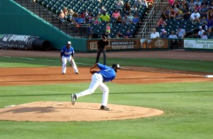 Tracy McGrady had 18 of his 38 pitches count as strikes during his professional baseball debut with the Sugar Land Skeeters. Photo R. Anderson