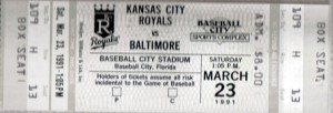 The 1991 season for the Baltimore Orioles and Kansas City Royals started with promise in Spring Training and ended with both teams in sixth place in their divisions after firing their managers.  Photo R. Anderson