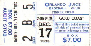 This ticket stub allowed me entrance to Tinker Field where I ended up meeting one of my favorite baseball figures Earl Weaver outside the third base dugout. Photo R. Anderson