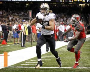 New Orleans Saints wide receiver Willie Snead catches a touchdown during the game between the Tampa Bay Buccaneers and the New Orleans Saints. September 20, 2015.