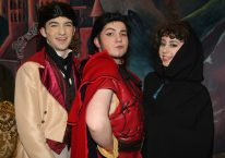 Mandatory Credit - © Freddie Parkinson © Ballyclare High School Presents Disney's Beauty and the Beast. Jacob Ogilby as LeFou, Christopher McNeilly as Gaston and Erin Kennedy as Agathe.