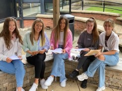Ballyclare High pupils Nell Campbell, Jessica Hunter, Kaytlin Meredith-Gault, Abigail Kennedy and Lara Wilson opening their AS level results