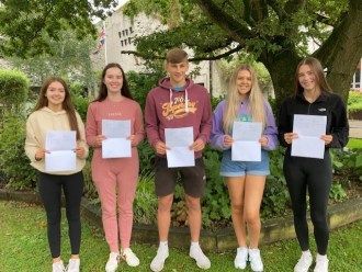 Securing 4 A grades at AS level Ballyclare High pupils Katie Conn, Connie Duncan, Peter Gillespie, Lucy Murray and Kerry McCabe celebrate.