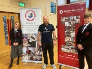 Ballyclare High pupils with Councillor Glenn Finlay who is involved in White Ribbon