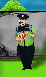 cartoon police man illustrating a story from Ireland's Magical town of Ballyyahoo