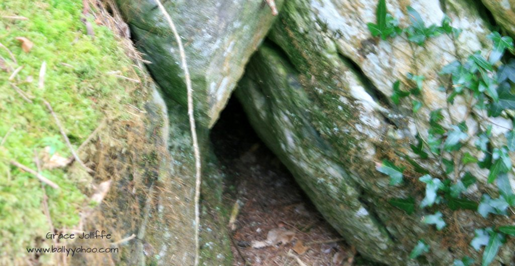 hiding place in rocks illustrating a children's story from Ireland's magical town of Ballyyahoo