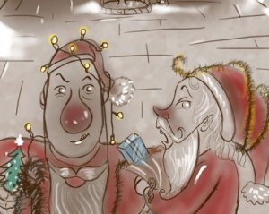 drawing of Santa and Rudolph illustrating a Christmas story for kids