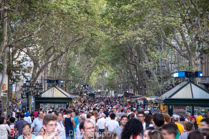 La Rambla jam packed with tourists(some would say terrorists) at 8.30 in the evening.