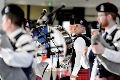 The Toronto Police Pipe Band plays at the Balmoral Classic.