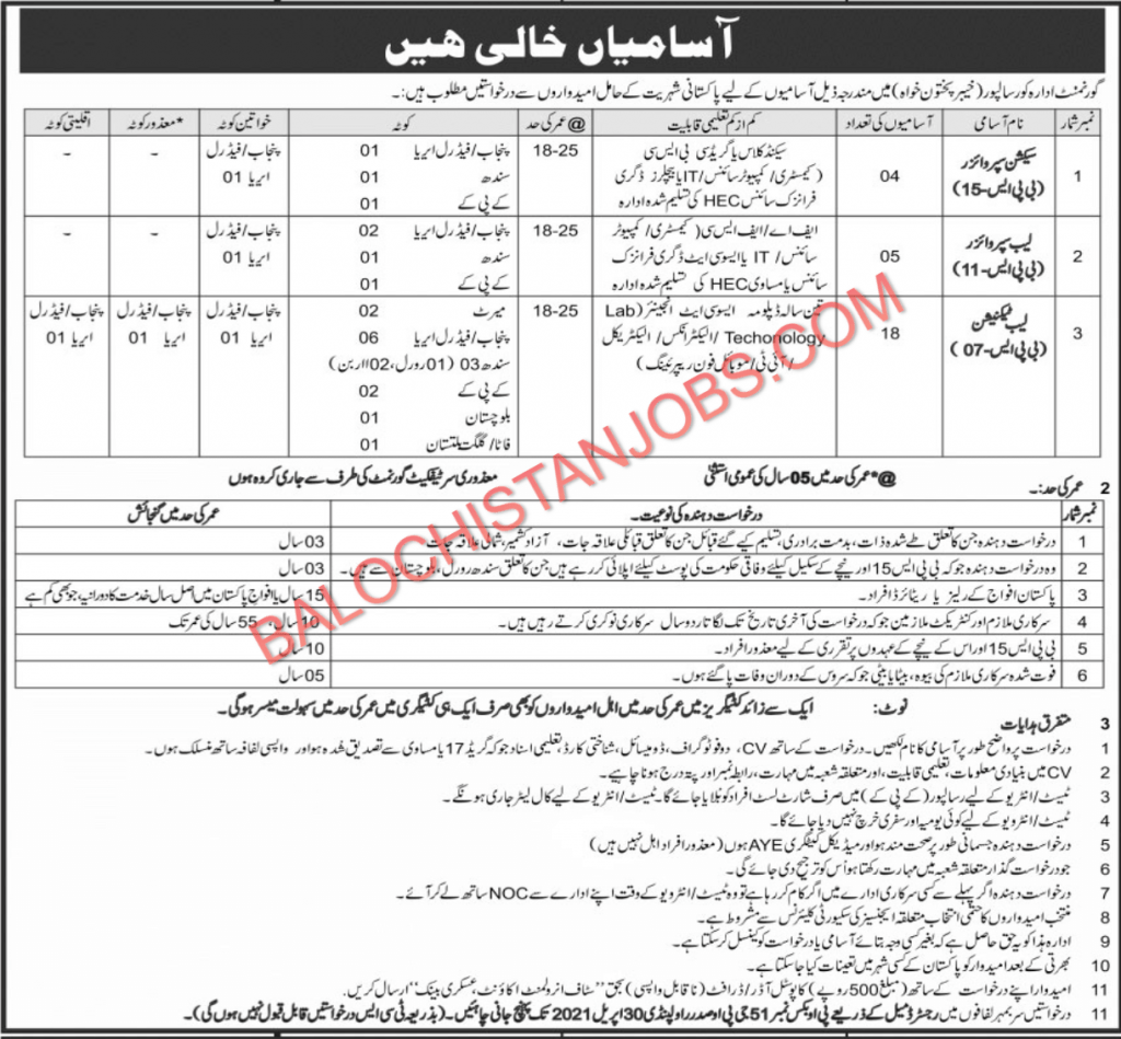 Government Institute Risalpur Jobs 2021