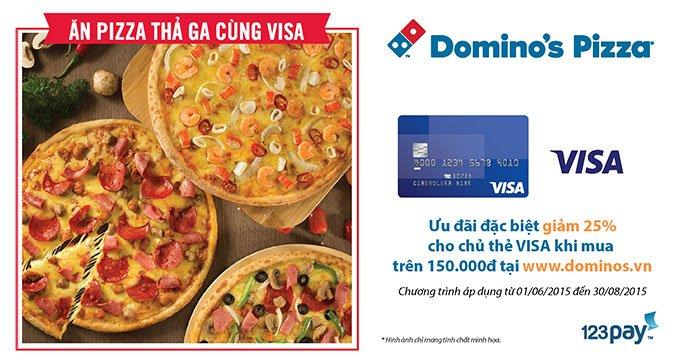 Domino Pizza khuyen mai 25%