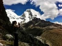 Belinda, with Peru's highest peak, Huascaran behind