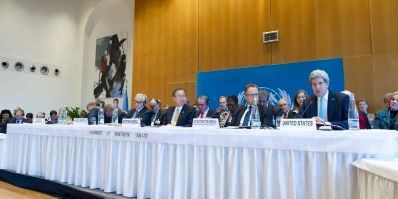 United States Secretary of State John Kerry (right) speaks during the opening of the high-level segment of the Geneva II Conference on Syria, taking place in Montreux, Switzerland. Also convening the international conference that has brought together both the Syrian Government and the opposition in an attempt to end the nearly-three-year civil war in Syria are (from left) Sergey V. Lavrov, Minister for Foreign Affairs of the Russian Federation; Lakhdar Brahimi, Joint Special Representative of the United Nations and the League of Arab States for Syria; Secretary-General Ban Ki-moon; and Michael Møller, Acting Director-General of the United Nations Office at Geneva (UNOG)   ©UN Photo/Eskinder Debebe.