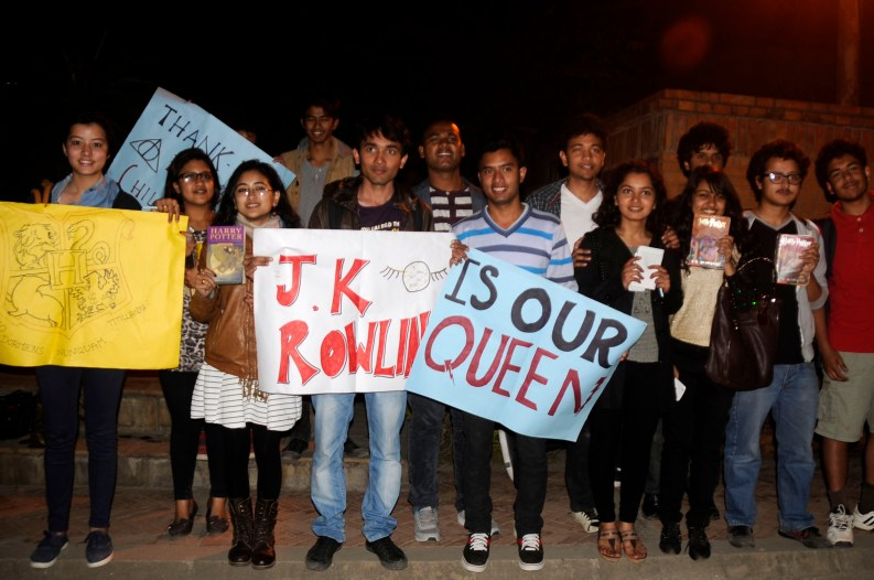 Harry Potter fans waiting for Rowling in front of her hotel in Kathmandu. Photo by Dinesh Gole.