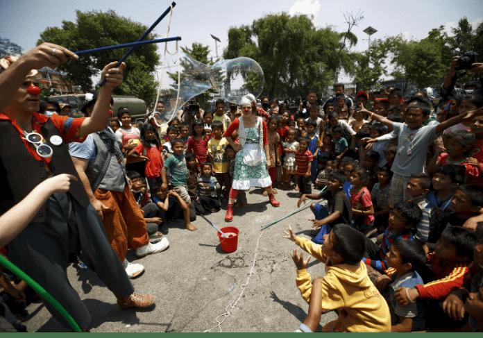 Clowns in Kathmandu. Navesh Chitrakar/Reuters