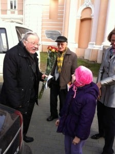 Pictured on the left is the internationally-known Lithuanian leader, Vytautas Landsbergis, Member of the European Parliament, greeting seven year old Klaudia M. Merkelis in front of St. Kazimieras Church in Vilnius, Lithuania. The photo was taken by Klaudia's mother, Gitana Merkeliene, after attending a special event marking the 25th anniversary of the restoration of Lithuanian independence. Photo: Gitana Merkeliene